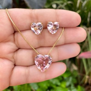 Conjunto coração rosa cristal