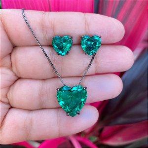 Conjunto coração verde esmeralda cristal