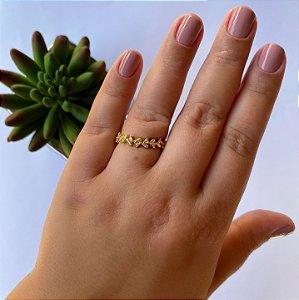 Anel regulável folhas e zirconia cristal banhado em Ouro 18K