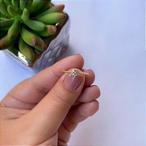 Anel solitário coração cristal e bolinhas banhado em Ouro 18K
