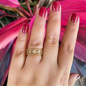 Anel largo flor cristal em Ouro 18K