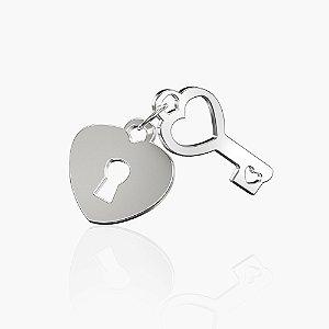 Pingente coração e chave em Prata 925