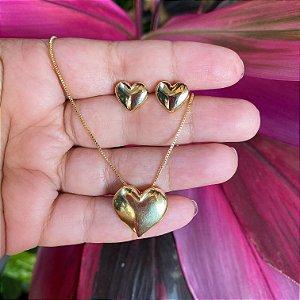 Conjunto coração liso metal