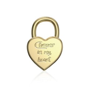 """Pingente coração cadeado """"Forever In My Heart"""""""