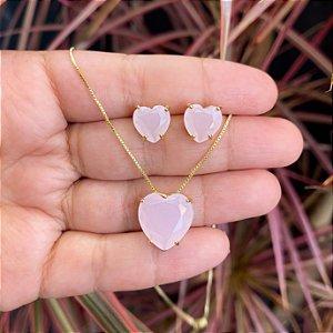 Conjunto coração quartzo