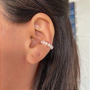 Piercing de pressão miçangas brancas