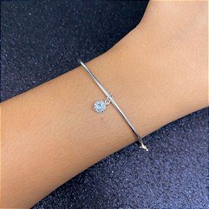 Bracelete rigído liso com ponto de luz Prata 925