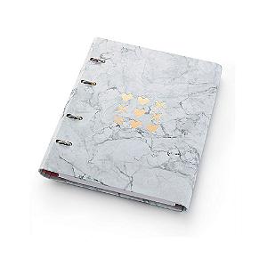 Caderno Argolado Fichário FC177 Pink Stone Mármore Ótima Gráfica