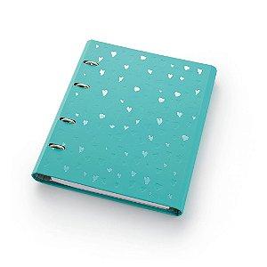 Caderno Argolado Fichário Ótima Gráfica FC177 Romantic Verde 21x25cm 4589-0