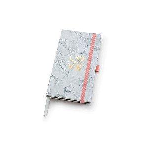Caderneta Papertalk Slim Pautado Pink Stone Mármore Ótima Gráfica 4506-7
