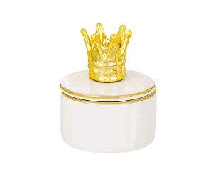 Caixa Redonda Branca com Coroa Dourada Mart em Cerâmica 08949