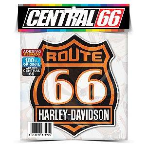 Adesivo Resinado Redondo Rout 66 - Escudo Harley