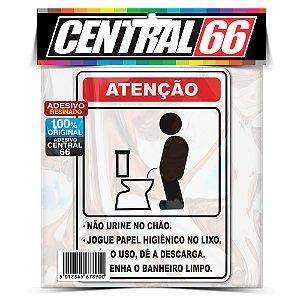 Adesivo Resinado Placa - Banheiro Aviso Atenção