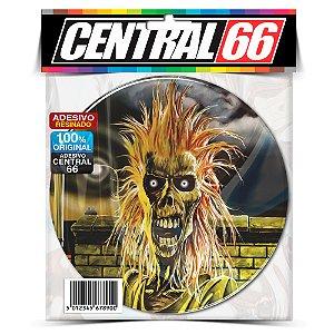 Adesivo Resinado Redondo Iron Maiden - Caveira Assustada