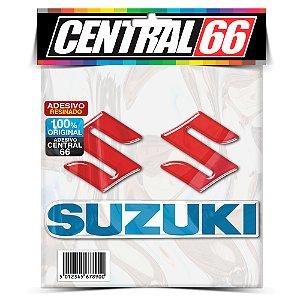 Adesivo Resinado Suzuki - S Vermelho, Escrito Azul
