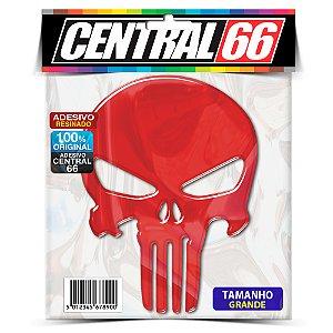 Adesivo Punisher 13cm Refletivo Vermelho Resinado