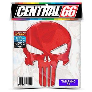 Adesivo Punisher 26cm Refletivo Vermelho Resinado