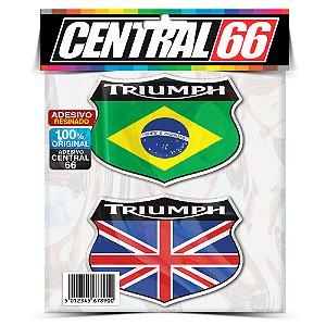Kit Adesivos Emblema Triumph Brasil Inglaterra Resinado