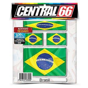 Kit Adesivos Bandeiras Brasil Resinado