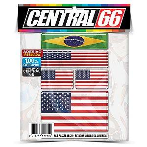 Kit Adesivos Bandeira Brazil USA Resinado