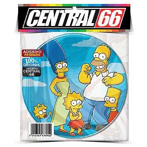 Adesivo Resinado Redondo Simpsons - Familia Fundo Azul Adesivo Protetor Resinado