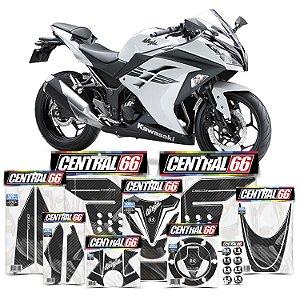 Kit Protetores Resinados Kawasaki Ninja 300 Carbono Branco