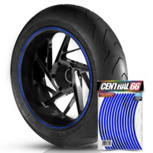 Adesivo Friso de Roda Universal M1 Azul Refletivo Filete Aro 13 ao 21