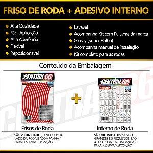 Kit Adesivo Interno de Roda P Indian + Friso Branco Prata Refletivo
