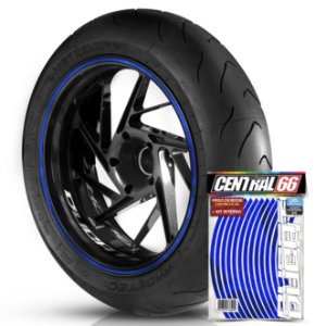 Kit Adesivo Interno de Roda P Ducati + Friso Azul Refletivo