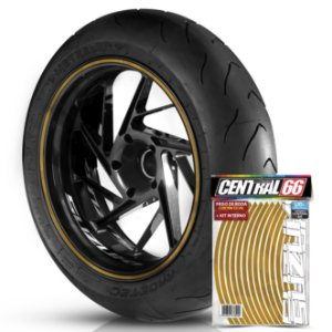 Kit Adesivo Interno de Roda P Suzuki + Friso Dourado Refletivo