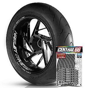 Adesivo Friso de Roda M1 +  Palavra FAT BOY LOW + Interno G Harley Davidson - Filete Preto