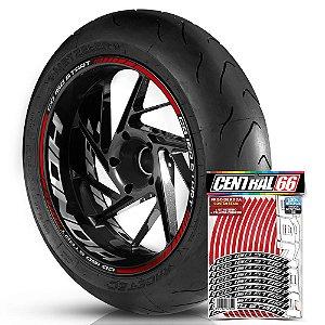 Adesivo Friso de Roda M1 +  Palavra CG 160 START + Interno G Honda - Filete Vermelho Refletivo