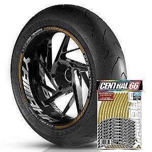 Adesivo Friso de Roda M1 +  Palavra XTZ 250 TENERE + Interno G Yamaha - Filete Dourado Refletivo