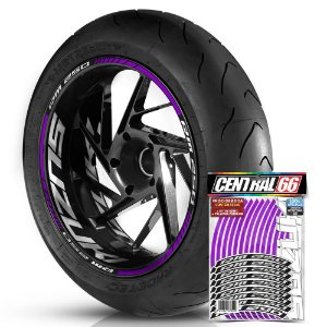 Adesivo Friso de Roda M1 +  Palavra RM 250 + Interno G Suzuki - Filete Roxo