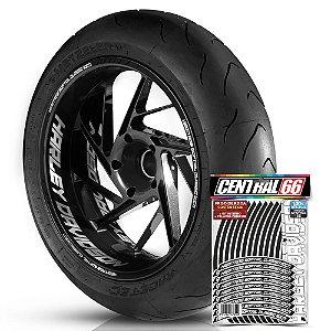 Adesivo Friso de Roda M1 +  Palavra HERITAGE SOFTAIL CLASSIC 110th + Interno G Harley Davidson - Filete Preto