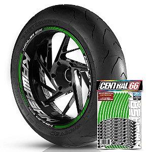 Adesivo Friso de Roda M1 +  Palavra NINJA EX + Interno G Kawasaki - Filete Verde Refletivo