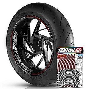 Adesivo Friso de Roda M1 +  Palavra DYNA SUPER GLIDE CUSTOM + Interno G Harley Davidson - Filete Vinho