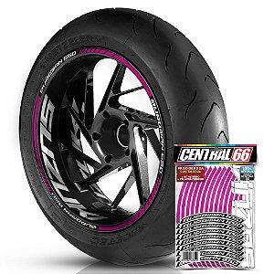 Adesivo Friso de Roda M1 +  Palavra BURGMAN 650 + Interno G Suzuki - Filete Rosa