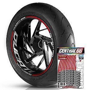 Adesivo Friso de Roda M1 +  Palavra DUCATI 1198 + Interno G Ducati - Filete Vermelho Refletivo