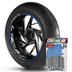 Adesivo Friso de Roda M1 +  Palavra AKROS 90 + Interno G Laquila - Filete Azul Refletivo