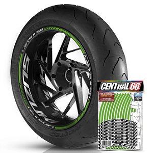 Adesivo Friso de Roda M1 +  Palavra Lets II 50 + Interno G Suzuki - Filete Verde Refletivo