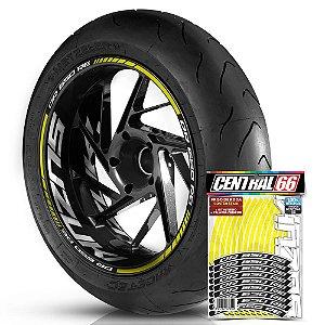 Adesivo Friso de Roda M1 +  Palavra DR 650 RE + Interno G Suzuki - Filete Amarelo