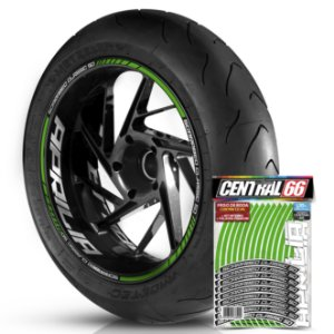 Adesivo Friso de Roda M1 +  Palavra SCARABEO CLASSIC 50 + Interno G Aprilia - Filete Verde Refletivo