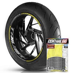 Adesivo Friso de Roda M1 +  Palavra BONNEVILLE BOBBER BLACK 1200 + Interno G Triumph - Filete Amarelo