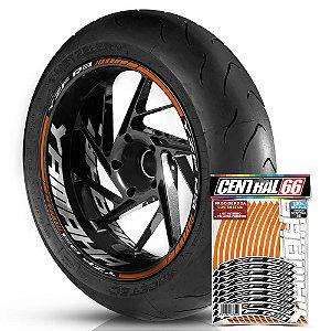 Adesivo Friso de Roda M1 +  Palavra YZF R3 + Interno G Yamaha - Filete Laranja Refletivo