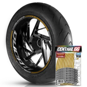 Adesivo Friso de Roda M1 +  Palavra SCRAMBLER CUSTOM + Interno G Ducati - Filete Dourado Refletivo