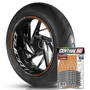 Adesivo Friso de Roda M1 +  Palavra SCRAMBLER CUSTOM + Interno G Ducati - Filete Laranja Refletivo