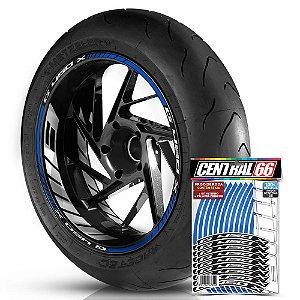 Adesivo Friso de Roda M1 +  Palavra G 450 X + Interno G BMW - Filete Azul Refletivo