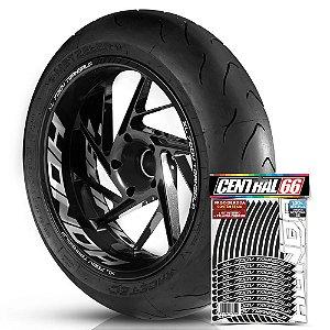Adesivo Friso de Roda M1 +  Palavra XL 700V TRANSALP + Interno G Honda - Filete Preto
