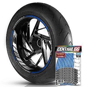 Adesivo Friso de Roda M1 +  Palavra R 1200 GS ADVENTURE RALLYE + Interno G BMW - Filete Azul Refletivo